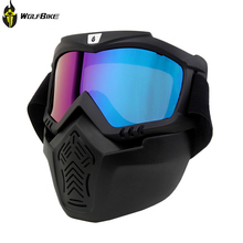 WOLFBIKE Motocross Skiing Goggles Glasses Face Dust Mask With Detachable Design+Cycling Skiing Goggles With Mask(China)