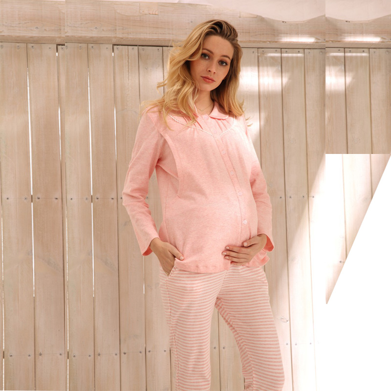 Sally Nice Maternity Pregnancy Clothes Sleepwear Breastfeeding Pink Gray Nursing Pajamas Pregnant Women Comfy Loose Thin Cotton<br>