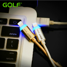 GOLF 1m Smart LED Light Metal Braided Charger Cable For iPhone 5/5S 6/6S 7 Plus iPad 4 USB Charging Data Sync Charge Cable 100cm