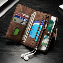 CaseMe Genuine Leather Flip Cover For Apple iPhone 7 6s 6 Plus 6Plus 8 X Second Layer Cowhide Multifunctional Wallet Phone Cases(China)