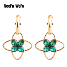 NeeFu WoFu Drop Big Earring Glass Metal for Woman Ear Ring Large Long Brinco Oorbellen Flower pattern Earrings(China)