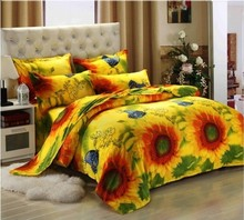 Home Textiles 3D Bedclothes Sunflower Flower 4PCS Bedding Set King Or Queen(China)