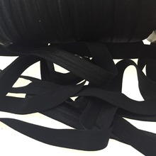 Fold Over Elastic 30yards 5/8 inch FOE - Shiny for elastic Headbands Hair Ties Hairbow Black color fold over Elastic(China)