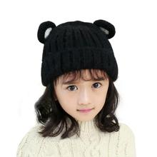 Cute Baby Girl Hat Fashion Ear Pattern Vertical Stripe Knitted Winter Hats For GIrl Warm Crochet Hats Beanie Cap