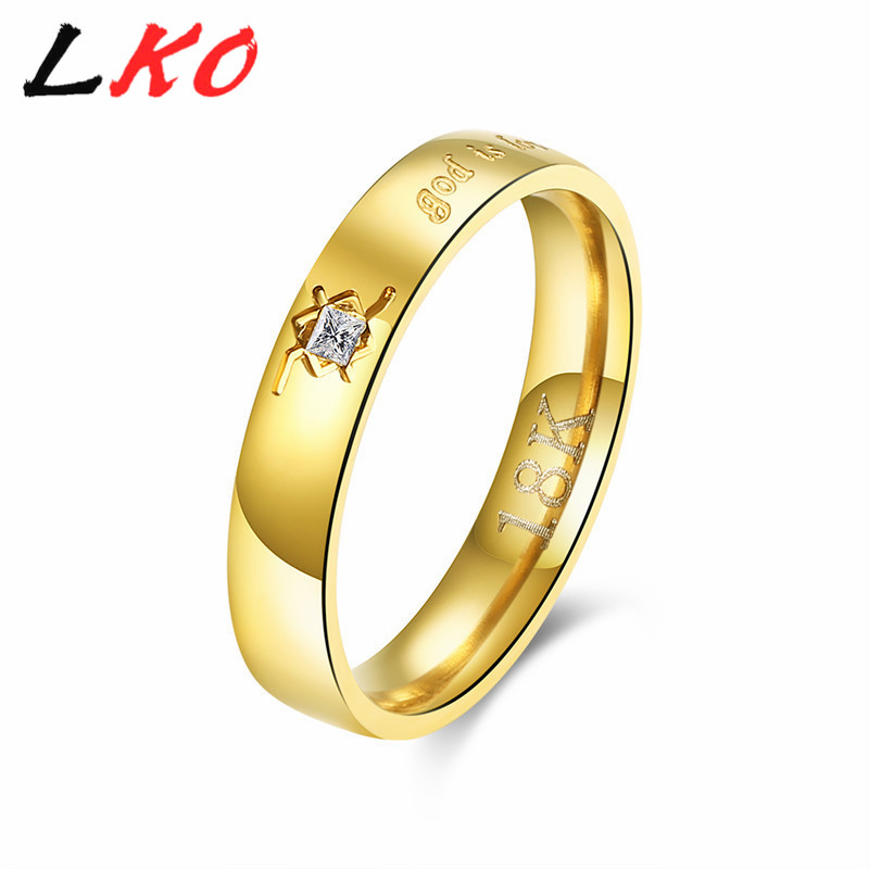 LKO CZ Ring Top Quality aureate Titanium Steel Ring Mirco Zircon Stainless Steel Ring print gold is love LKNSPCR214(China)