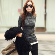New Hot 2017 Slim Sweaters Fashion High Neck Long Sleeve Pullovers Women Solid Colour Knitted Tops SW079(China)