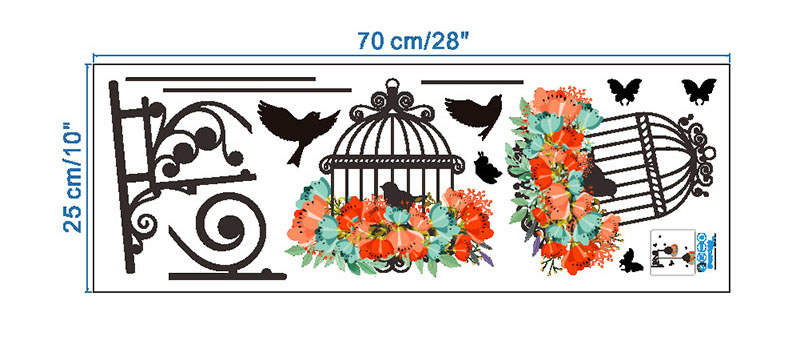 HTB1FwbkRFXXXXcnaXXXq6xXFXXXl - New Birdcage Flower Flying for Living room Nursery Room Wall Stickers Vinyl Wall Decals Wall Sticker for Kids Room Home Decor