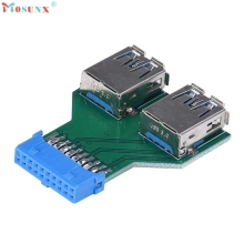 Adroit New Motherboard 19Pin Header To 2 Ports USB 3.0 A Female HUB Adapter Connector XS7329 drop shipping