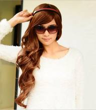 Free Shipping New Style Sexy Beautiful Long Curly Hair Sexy Long Brown headdress Fashion Long Brown Curly Hair 3FH041(China)