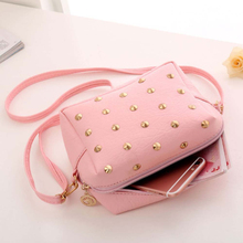 New Fashion 2017 Women Bag Fashion Women Messenger Bags Rivet Chain Shoulder Bag High Quality PU Leather Crossbody #N1V1