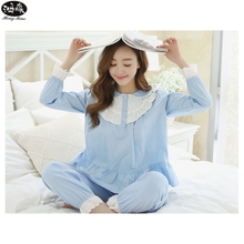 Pyjamas Women Pijamas Doll Collar Bud Silk Pajamas Set M-XL Long Sleeved Spring And Autumn Female Small Fresh Sleepwear(China)