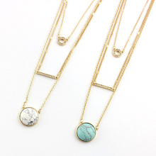 Three-Layered Gold Plated Statement Turquoise Necklace Fashion Jewelry 2016 Modern Design Geometric Pendant Necklace