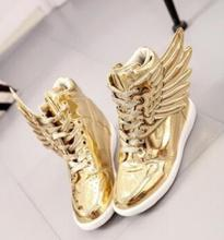 Gold silver cute angel angel wing butterfly student women casual shoes high top ankle boots patent leather lace up booties