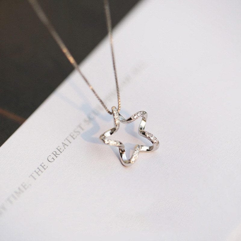 925 Sterling Silver Crystal Star Necklaces Pendant Hot Sale Pure Silver Jewelry for Women Silver Choker Birthday Gift NKE0081(China (Mainland))