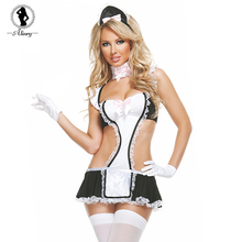 Buy ALINRY Sexy Lingerie Women Lace Maid Uniform Costume Erotic Babydoll Satin Dress Hollow Cosplay Underwear Porno Lenceria Encaje
