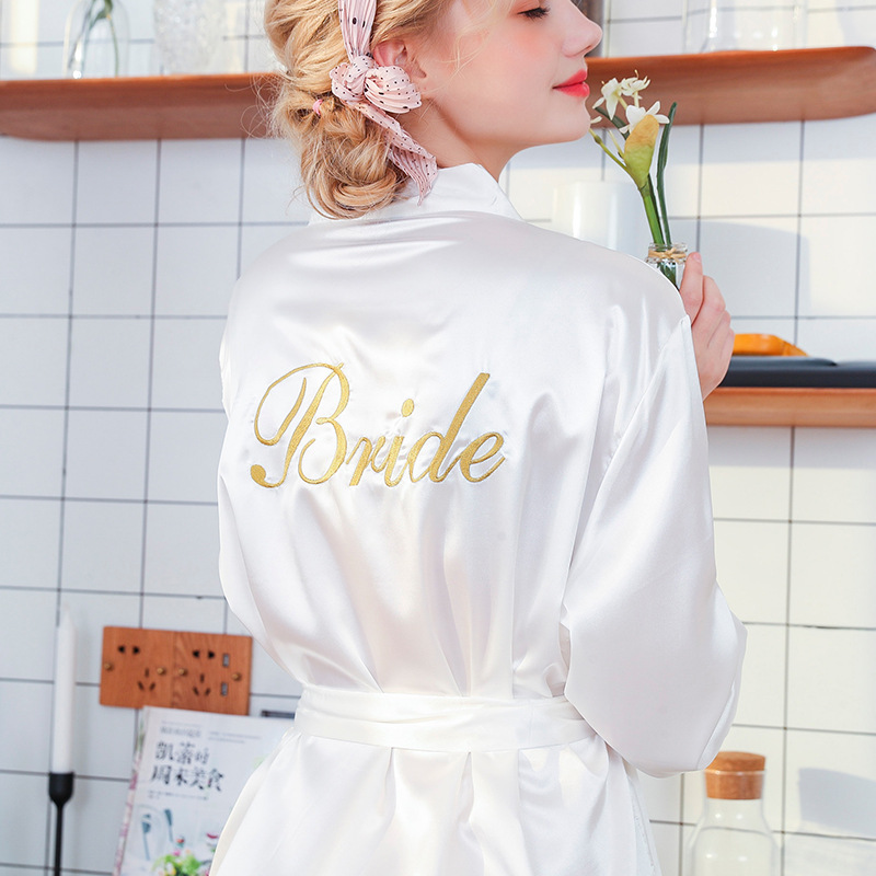 letter kimono satin wedding Bride tribe robe bridesmaid sister mother of the bride robes Female Nightwear Bathrobe Nightdress(China)