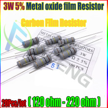 New 20pcs 5% 3W Metal oxide film Resistor 120 150 180 200 220 ohm Carbon Film Resistor