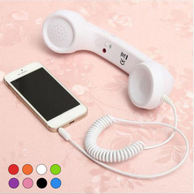 3.5mm Retro Phone Telephone Radiation-proof Receivers Cellphone Handset with Classic Headphone MIC Microphone