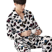 Winter Men's Pajama Set Cow Cartoon Full Sleeve Coral Fleece Sleepwear Cardigan and Pants 2 Piece Pyjamas Suit Men Home Clothing