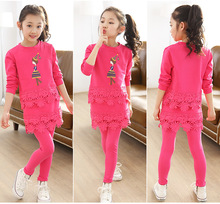 2018 Girls Clothing Sets Spring Cotton Lace Long Sleeve Shirt + Pants Baby Kids Clothes Suit Children Clothing Set 3-8Y