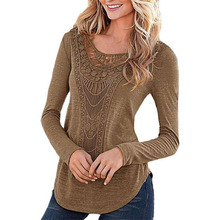 New Autumn Fashion Sexy Women Ladies Casual Loose Crochet T Shirt Hollow Out Long Sleeve Cotton Tee Shirt Femme Tops Plus Size