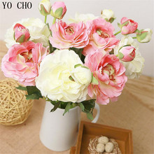 2 head decoration wedding flowers artificial peony bouquet silk flannel rose flower for home decoration table decoration flowers