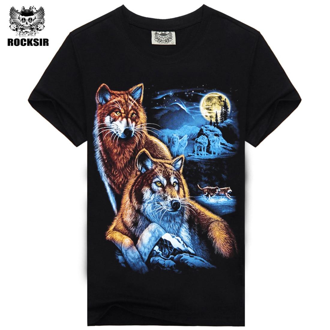 Rocksir 3d wolf t shirt mens Brand 3D Indians wolf Print t shirts Cotton wolves Men t-shirt Casual Man Tees Mens Tops 13
