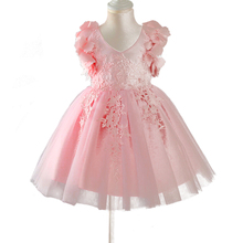 Girls Dress up Clothes Flower Petals Sleeve Girls Party Wedding Dress Christmas Baptism Princess Gown Toddler Lace Vestidos