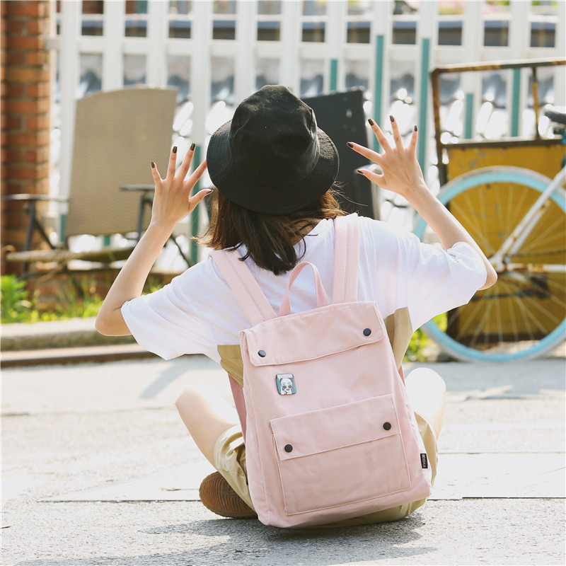 Menghuo Brand Female Women Canvas Backpack Preppy Style School Lady Girl Student School Laptop Bag Cotton Fabric bolsasHGDX7662