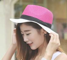 Wholesale 6pcs/Lot Nice Ladies Straw Fedora Hats 2017 Women Summer Color Block Paper Straw Fedoras Hat New Womens Sun Beach Cap(China)