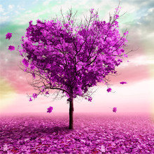 Hot selling 5D Diy Diamond Painting Cross Stitch Square Diamond Embroid Purple Tree falling leaf stitching work craft drop ship