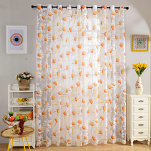 270x100cm Romantic Floral Rustic Tull Voile Door Window Balcony Cloth Curtains Panels Drapes with Hooks for Cafe Hotel Office