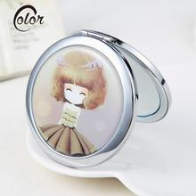 Mini Portable Makeup Mirror Pocket Double Dual Sides Normal Magnifying Mirror Stainless Steel Frame Compact Cosmetic Mirrors