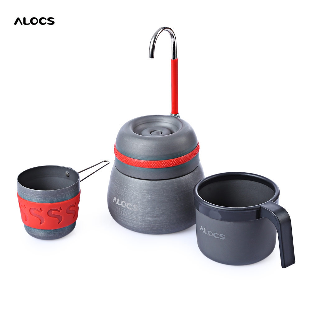ALOCS CW - EM01 Outdoor 350ml Portable Coffee Stove Aluminum Alloy Camping Hiking Gray Coffee Maker Pot With 2 Cups Coffee Tools<br>