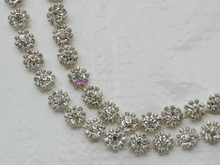 Free Shipping 1yard Crystal Rhinestone Trim, Rhinestone Applique, Bridal Applique,Wedding Applique,Rhinestone Chain XML001