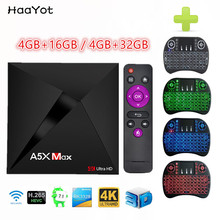 HAAYOT A5X Max Smart Android 7.1 TV Box 17.3 RK3328 Quad Core 4GB RAM 16GB 32G ROM USB 3.0 WiFi LAN VP9 H.265 UHD 4K Media Play(China)
