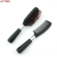 JETTING 2Pc Best Sale Black Plastic Women Large Tooth Comb For Hair With Mirror Makeup Cosmetic Comb For Women Styling Tool Gift