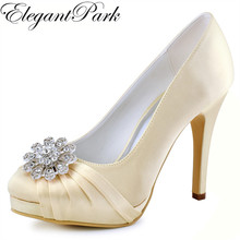 Woman Shoes Silver Champagne High Heel Platform Wedding Rhinestone Satin Bride Lady Prom Party Bridal Pumps Navy Blue EP2015NW(China)
