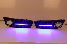 2Pcs Blue light LED Daytime Running Lights Car Styling Driving Grille Grills  Fog Light For Audi A4 B8 //