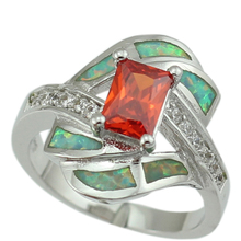 New Arrival Unusual Synthetic Green Fire Opal Stones Garnet Fashion Jewelry Women Opal Rings Size 6 7 8 9 OR842 Free Gift Box