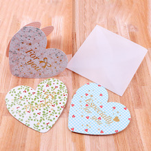 6pcs/lot DIY Paper heart shape Greeting Wishing Thanksgiving Postcard Decoupage Post Birthday Message Gift Card