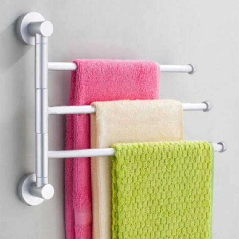 3 bath towel rack Aluminium Bathroom Wall Mounted Towel Swivel Rack Rail Holder Hanger Silver Practical<br><br>Aliexpress