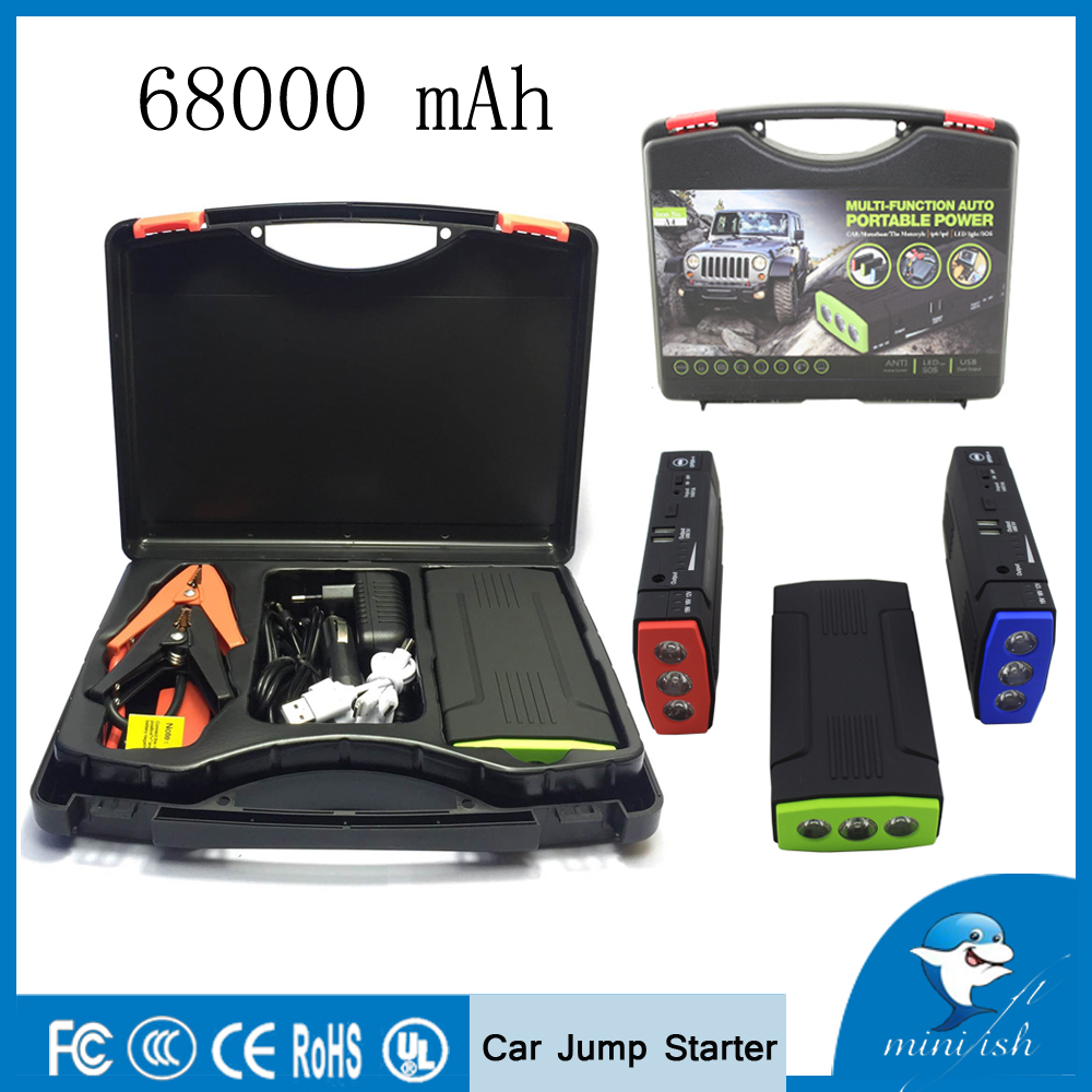 Promotion Multi-Function Mini Portable Mobile Emergency Battery Charger Car Jump Starter 68000mAh Booster Starting Power Bank(China (Mainland))