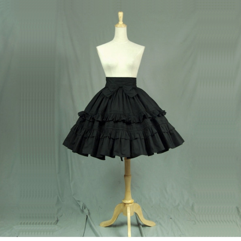 High Quality Black Cotton Lolita Gothic Skirts with Layered Ruffles Summer A-line Maid Theater Costumes Customized For 2018