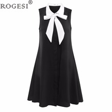 Rogesi 2018 Spring New Fashion Dress Vestidos Girl Dresses Brand W8585 Black Sleeveless Bow Front Womens Dress(China)