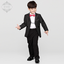 2016 Eyas New Boys Formal Suits for Weddings 3-12T Man Child Plaid Black England Style Suit Set Party Tuxedos Ring Bearer A1102(China)