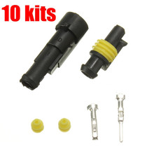 Newest 10 Set 1 Pin Way Sealed Waterproof Electrical Wire Auto Connector Plug Car Truck(China)