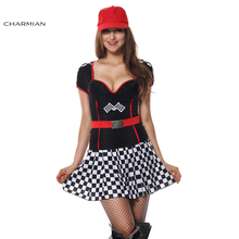 Charmian Sexy Uniforms Race Car Driver Halloween Costume for Women Sexy Mini Dress Race Girl Game Costume Party Cosplay(China)