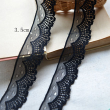 Free ship F726 black lace clothes laciness accessories cloth dress lace fabric 3.5 cm wide embroidery lace trim