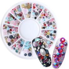 1Wheel Nail Art Acrylic Rhinestones 3D Nail Decorations Mixed Designs Colors Sharp Bottom Crystals Manicure Nails Accesories